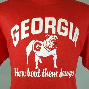 NOS Vintage 70s Georgia Bull Dogs T Shirt XL